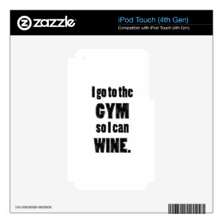I Workout so I can wine - whine black iPod Touch 4G Decal