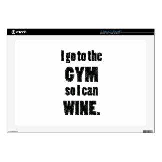 I Workout so I can wine - whine black Laptop Skin