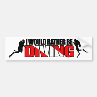 I Would Rather Be Diving Bumpersticker Bumper Sticker