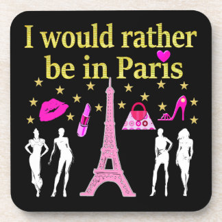 I WOULD RATHER BE IN PARIS BEVERAGE COASTER