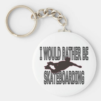 I WOULD RATHER BE SKATEBOARDING BASIC ROUND BUTTON KEYCHAIN