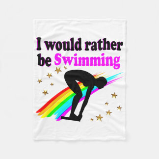 I WOULD RATHER BE SWIMMING PINK RAINBOW DESIGN FLEECE BLANKET