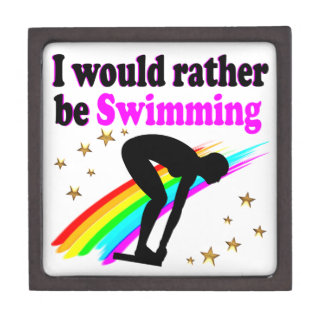 I WOULD RATHER BE SWIMMING PINK RAINBOW DESIGN JEWELRY BOX