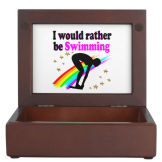 I WOULD RATHER BE SWIMMING PINK RAINBOW DESIGN MEMORY BOX