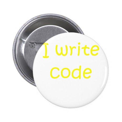I Write Code Pinback Buttons