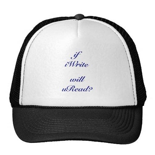 I Write You Read Blue Print Hats