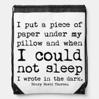 I Wrote in the Dark Thoreau Quote Drawstring Bag
