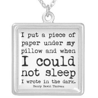 I Wrote in the Dark Thoreau Quote Square Pendant Necklace