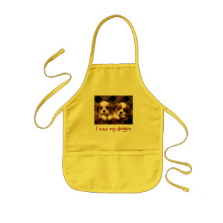 I wuv my doggie Puppy Pictures Kids' Apron