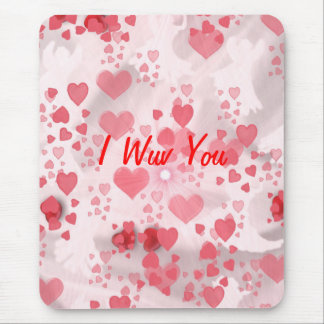 I WUV YOU... ANGELS AND HEARTS MOUSEPAD