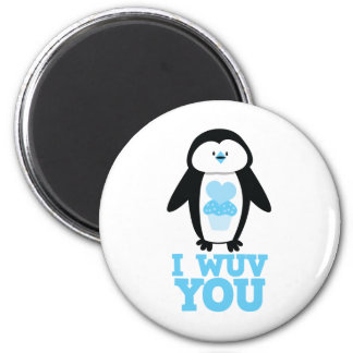 I wuv you penguin with cupcake hearts 2 inch round magnet