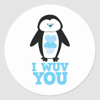 I wuv you penguin with cupcake hearts classic round sticker