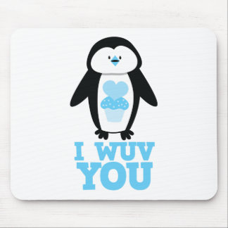 I wuv you penguin with cupcake hearts mouse pad