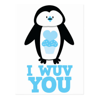 I wuv you penguin with cupcake hearts postcard