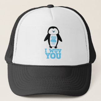I wuv you penguin with cupcake hearts trucker hat