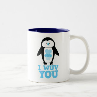 I wuv you penguin with cupcake hearts Two-Tone coffee mug