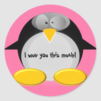 I wuv you this much! classic round sticker
