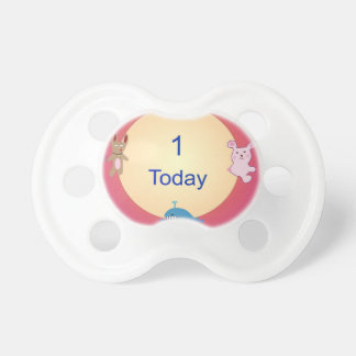 I Years old Today> Pretty Animal Birthday pacifier
