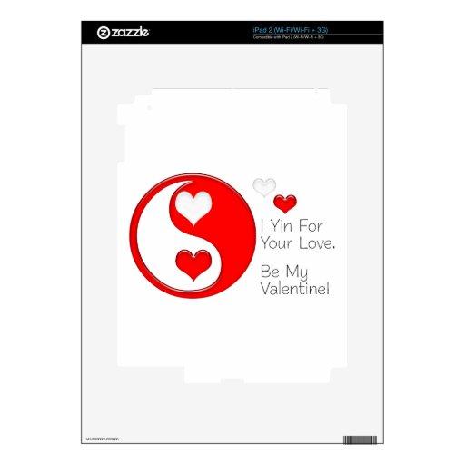 I Yin para su amor… Sea mi tarjeta del día de San  Calcomanía Para El iPad 2