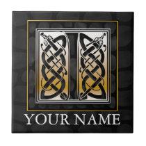 "I ""Your Name"" Celtic Black Stone Monogram Tile"