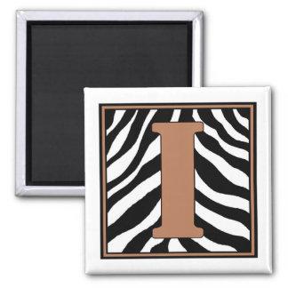 I-Zebra Skin Monogrammed Square Magnet