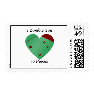 I zombie you to pieces zombie heart stamps