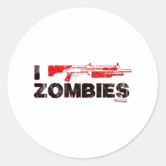I zombis de la escopeta - mutante Zomb de la matan Pegatina Redonda
