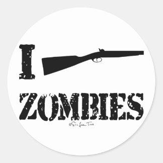 I zombis de la escopeta pegatina redonda