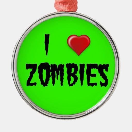 I zombis del corazón adorno navideño redondo de metal