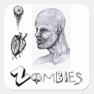 I zombis del corazón (amor) pegatina cuadrada