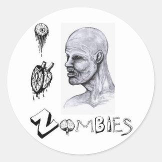 I zombis del corazón (amor) pegatina redonda