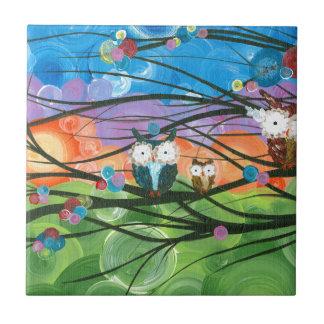 ia (c) 2013 - árboles de familia del búho azulejo cuadrado pequeño