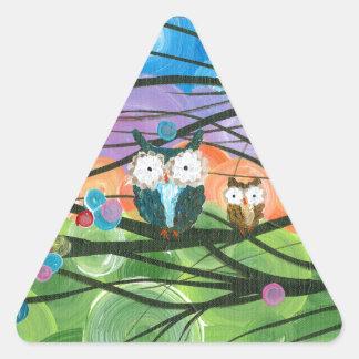 ia (c) 2013 - árboles de familia del búho calcomanías de trianguloes personalizadas