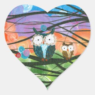 ia (c) 2013 - árboles de familia del búho pegatina en forma de corazón