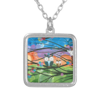 ia (c) 2013 – Owl Family Trees Square Pendant Necklace