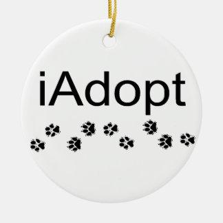 iAdopt Double-Sided Ceramic Round Christmas Ornament
