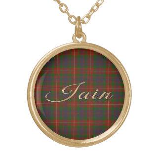 Iain Name-branded Pendant on Fraser Tartan