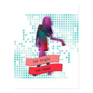 Iam Single Iam Happy For Woman-Light Blue Postcard