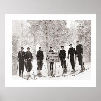 Iamge del esquí del vintage, foto del grupo impresiones