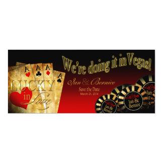 "Ian & Bernice Las Vegas Deluxe Red Black Gold 4"" X 9.25"" Invitation Card"