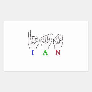 IAN FINGERSPELLED ASL SIGN RECTANGULAR STICKER