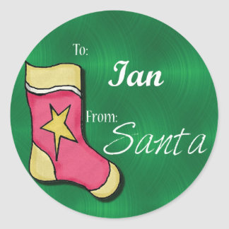 Ian Personalized Christmas Label58 Classic Round Sticker