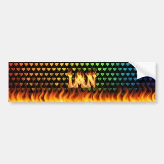 Ian real fire and flames bumper sticker design.