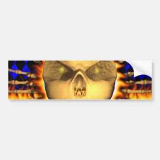 Ian skull real fire and flames bumper sticker desi