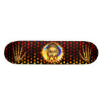 Ian skull real fire and flames skateboard design
