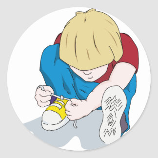 Ian Tying Shoes Classic Round Sticker