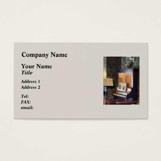 {iano and Sheet Music on Stand Business Card