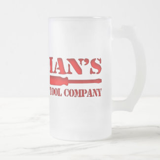 Ian's Tool Company Frosted Glass Beer Mug