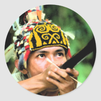 Iban Warrior and Blowpipe Classic Round Sticker