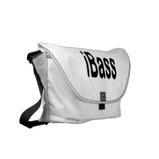 ibass music design black text courier bag